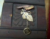 Wonderful Little Realistic Bird Assemblage Brooch or Pendant Made Largely from Vintage Components