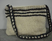 Hand knit oatmeal purse