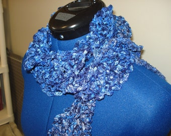 Shades of blue lace scarf