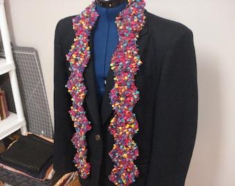 Bright hand knit multicolor scarf