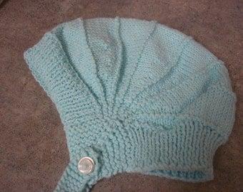 Aqua knit baby hat