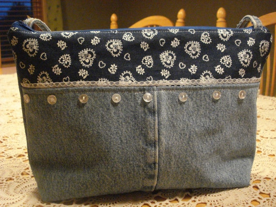 Denim and lace purse