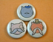 Kittens with Mustaches Button Set