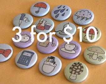 Bulk Button Order - 3 sets - You Chose (9 pins total)
