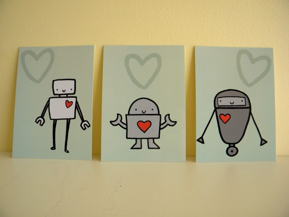 Love Robot Art Postcards