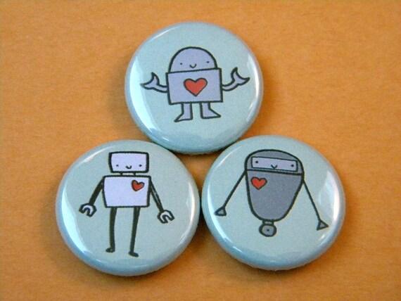 Love Robots Button Set