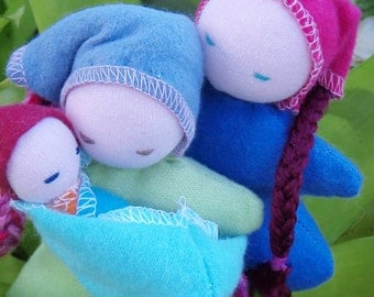 Parents and newborn minature doll set, babywearing, attachment parenting, cloth rag doll, made in Australia