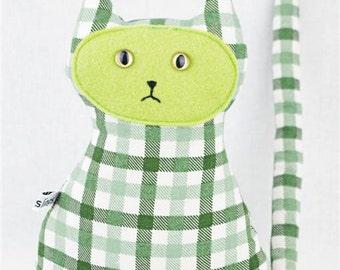 Green Cat Toy,  Vegan Friendly, Green Plaid, Newborn Toy