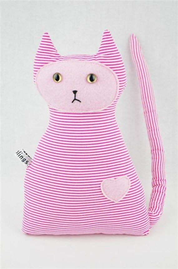 Pink Cat Toy, Vegan Friendly, Pink Stripe with Pink Face and Pink Heart, Newborn Toy, Softie, Plush