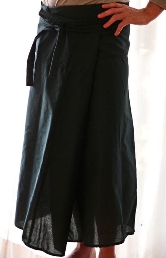 RESERVED for Tommy - Dark Green Wrap Skirt - lovely for everybody including pregnant and post natal mothers