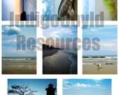 Beach Scene ATC Digital Collage Sheet JPG