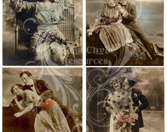 The Flirtation Digital Collage Sheet JPG
