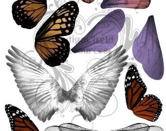 Wings Digital Collage Sheet JPG