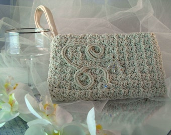 Ivory Clutch with Scrollwork Embroidery and Crystals