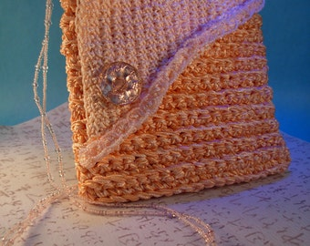 Coral Beaded Evening Bag
