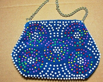 Beaded Bag Vintage Navy Blue with Mod Multicolor Beads--Rainbow Colored