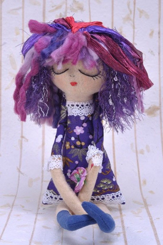 FREE SHIPPING - Luna, Collectible Handmade Art Doll.