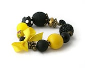 Bracelet in Black and Yellow with Polka Dots Bead and Yellow Bow