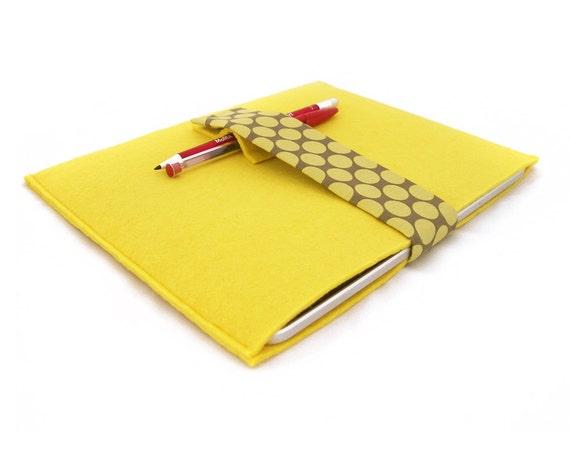 Yellow iPad felt sleeve with Polka dot Amy Butler fabric strap - gadget iPad sleeve - gadget case - unisex - iPad protector sleeve