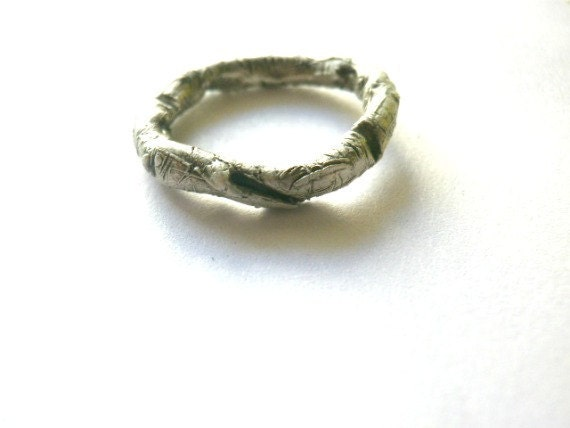 Sterling Silver  wood Textured Ring-Oxidised -Natural inspired-Gift-Handmade by cyklu