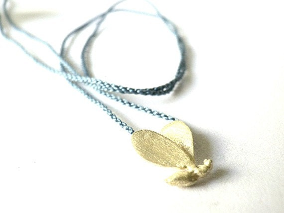 Bee sterling silver pendant-Blue silk cord-Nature inspired--Hand modeled-Lost wax-