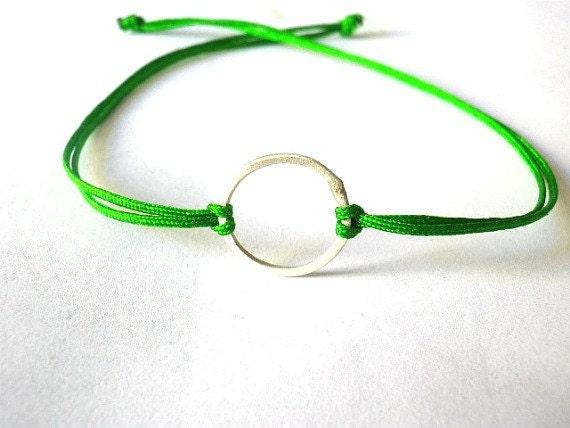 Good karma sterling silver bracelet -Circle bracelet-Green nylon cord