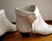 Vintage 1980s Cream Colored Zip-Up Ankle Boots Size 7.5
