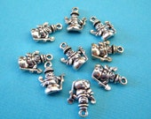 9pc Tiny Sterling Silver Snowman Charm