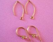 2 Pair Gold Vermeil Earwires Earring Findings
