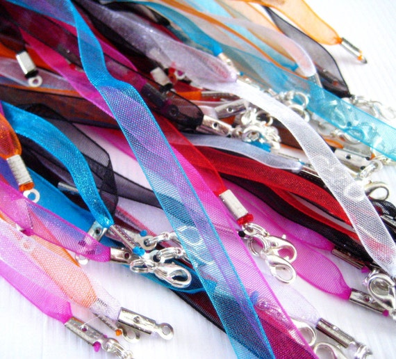 38 Organza Ribbon Necklaces Fuschia Turquoise Black Orange White Red 18 Inch