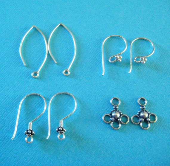 4 Pairs .925 Bali Sterling Silver Fancy Earwires Earring Findings
