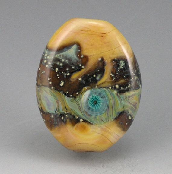 Atlantis 2....lampworked handmade glass focal BEAD organic harvest gold bead Truewealth SRA