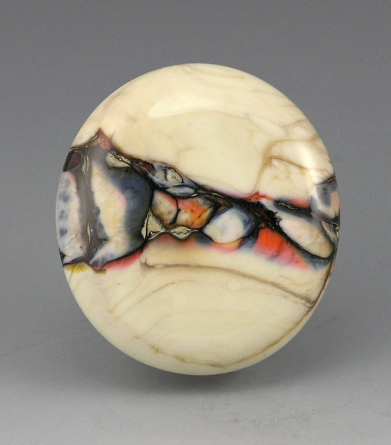 Reserved for R.....Range..... glass organic lampwork CABOCHON ivory and orange. neutrals Truewealth SRA