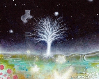 Tree Print - Abstract -  Starry Sky
