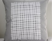 16 in Square Throw Pillow - Light Gray with Grid print in white