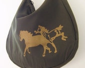 Slouchy Shoulder Bag in Olive Green with Stallions print