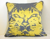 16 in Silk, Down-filled Pillow - Gray and Mustard Chevron Cat