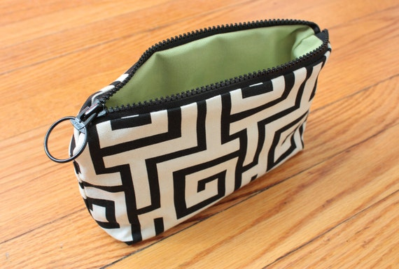 Black and White Maze Cosmetic Bag or Pencil Case - 9 in x 6 in Zip Pouch