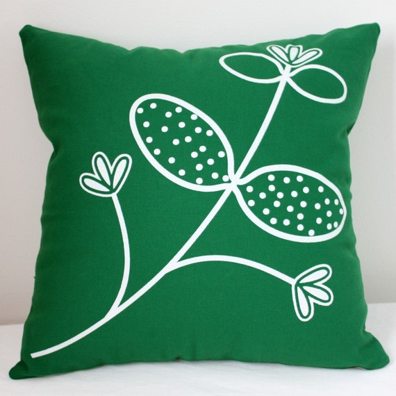 Items similar to Throw Pillow - Kelly Green with Honeysuckle print in white ink on Etsy