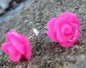 Lil Neon Pink Rose Stud Earrings