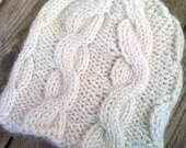 Handknit Cabled Newborn Hat, Off White Alpaca Blend In Stock