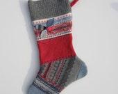Upcycled Wool Felt Christmas Stocking