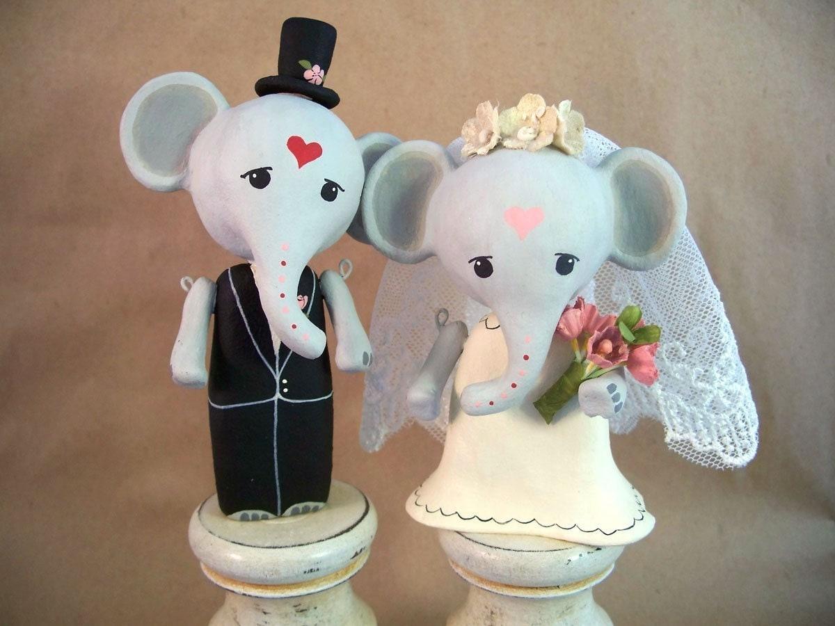 Custom Wedding Cake Topper Elephant Bride And Groom