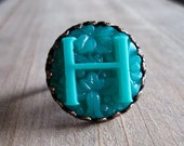 """Letter """"H"""" cocktail ring in jade and turquoise"""
