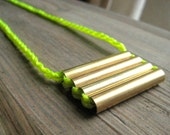 Neon and brass statement necklace