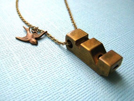 Bird Call - Vintage whistle necklace