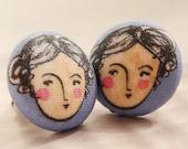 art portrait studs, Gemini earrings, woman girl face portrait studs, artsy illustration Gemini studs