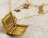 Key to the Knowlege - vintage book locket, customized initials, 14kt gold filled