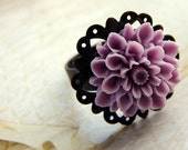 Purple lavender flower ring, Gardenia Ring amethyst, purple, lilac