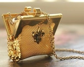 Limited Edition- Carry Me - vintage mesh metal purse necklace- a great gift